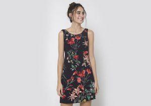 vestido curto estampa floral
