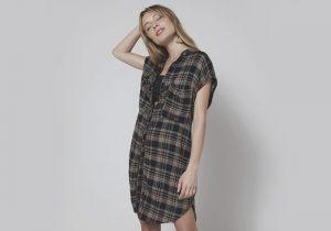 vestido estilo camisa xadrez