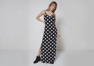 vestido longo estampa de poá