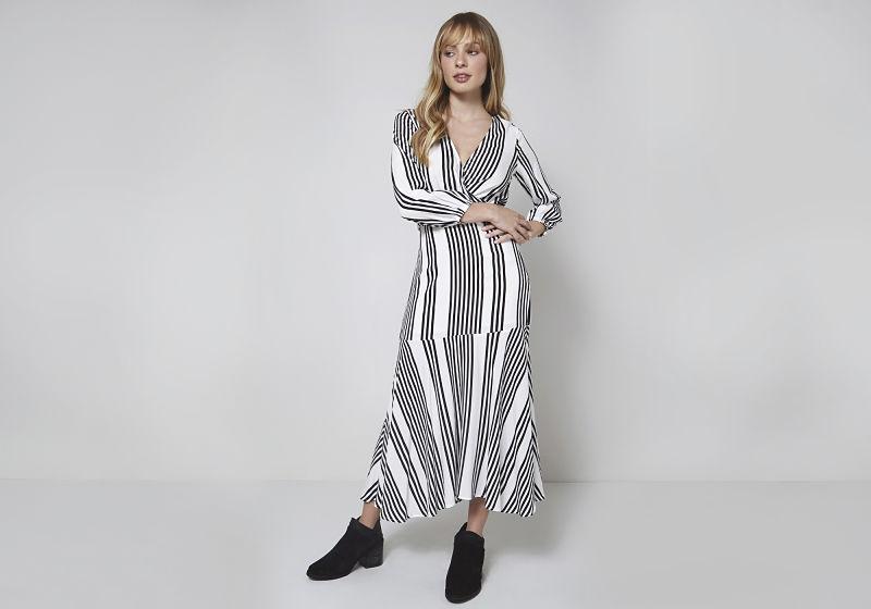 vestido longo listras grossas