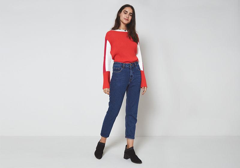 calça mom jeans escuro