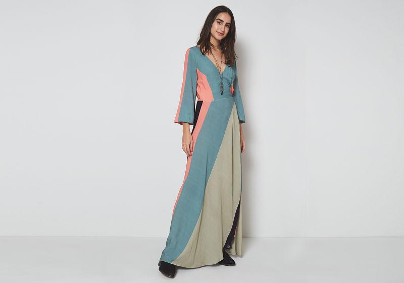 vestido manga reta