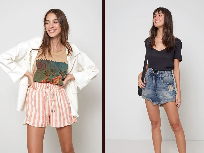 shorts cintura alta jeans ou tecido