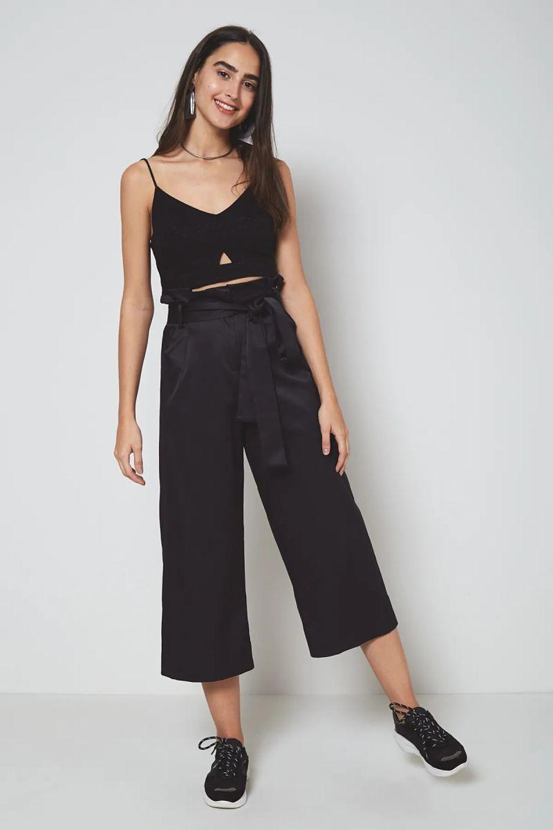 top cropped e calça pantalona