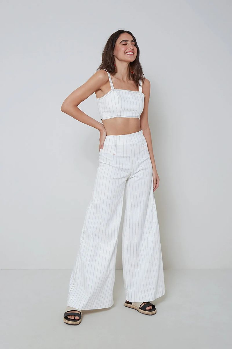conjunto calça branca listrinhas fininhas