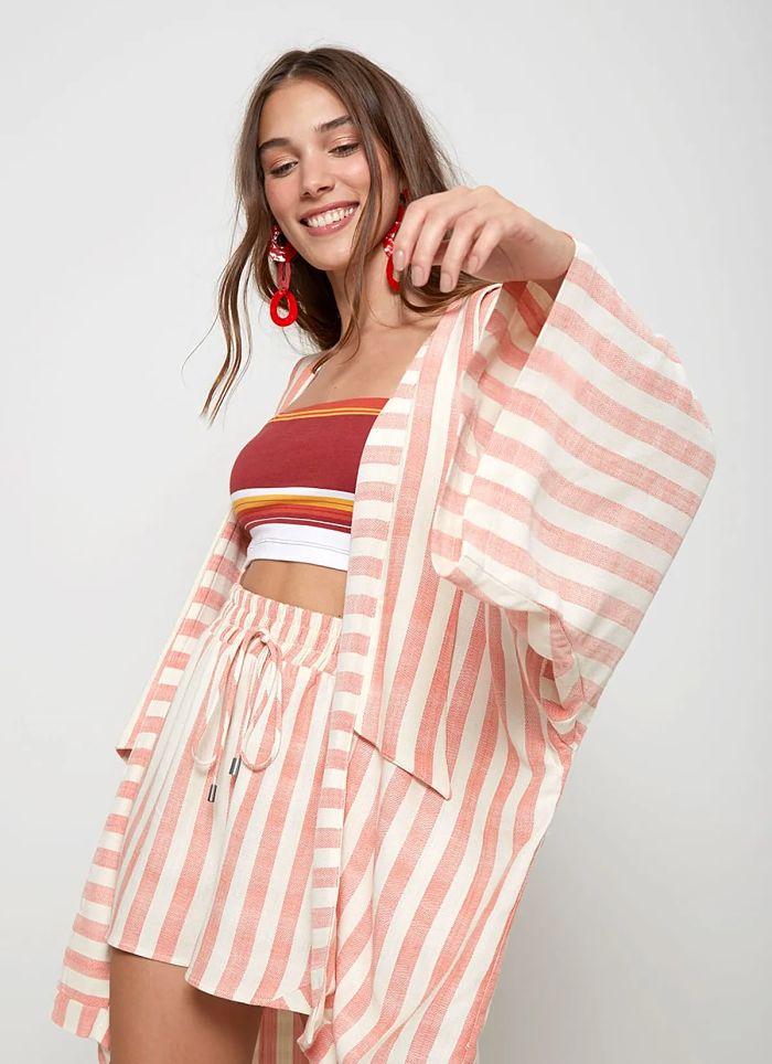 conjunto kimono listrado rose