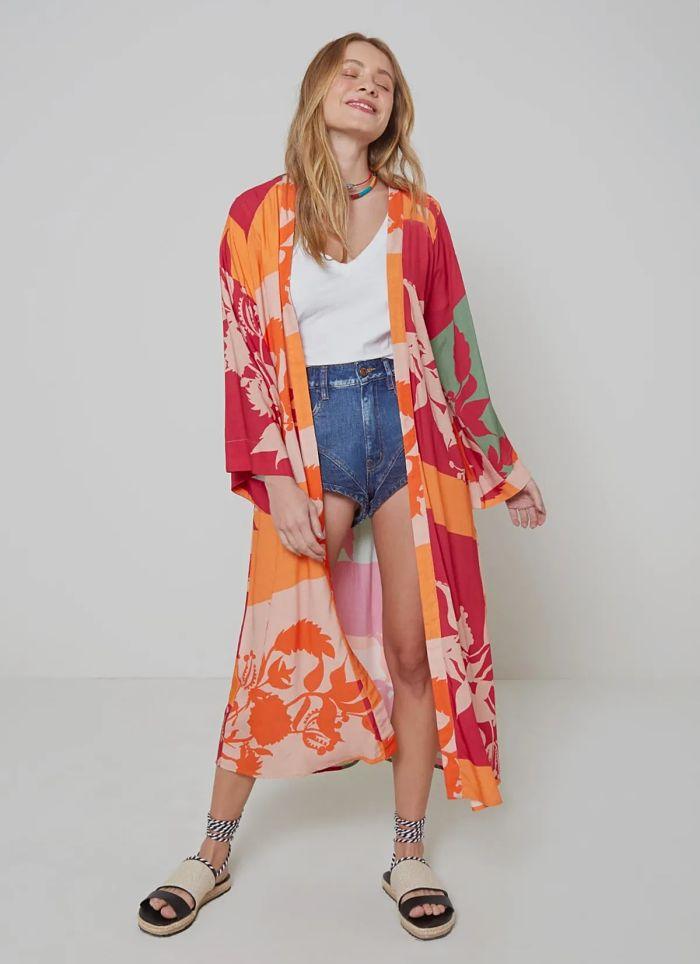 maxi kimono estampado