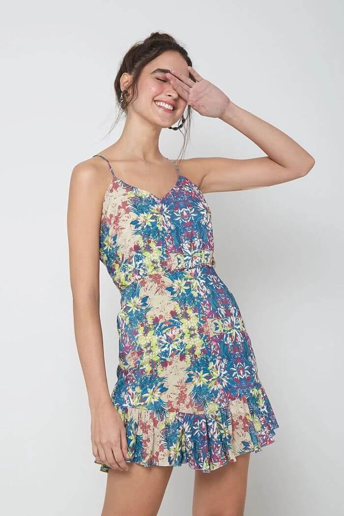 vestido alcinha floral