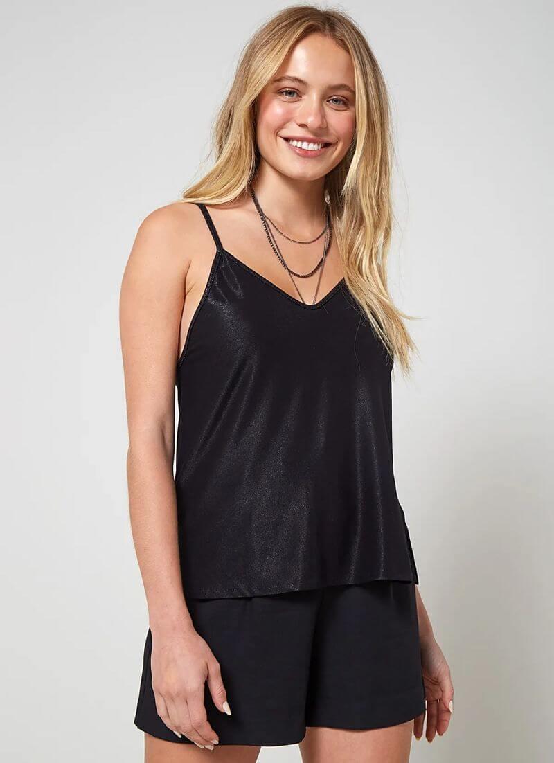 conjunto blusa de alcinha lisa preta short preto liso