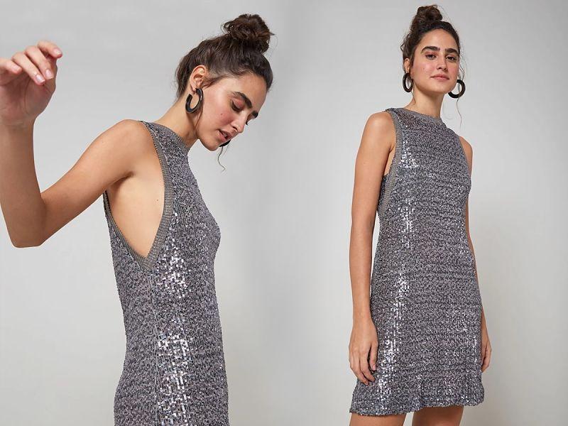 vestido prata de paetê