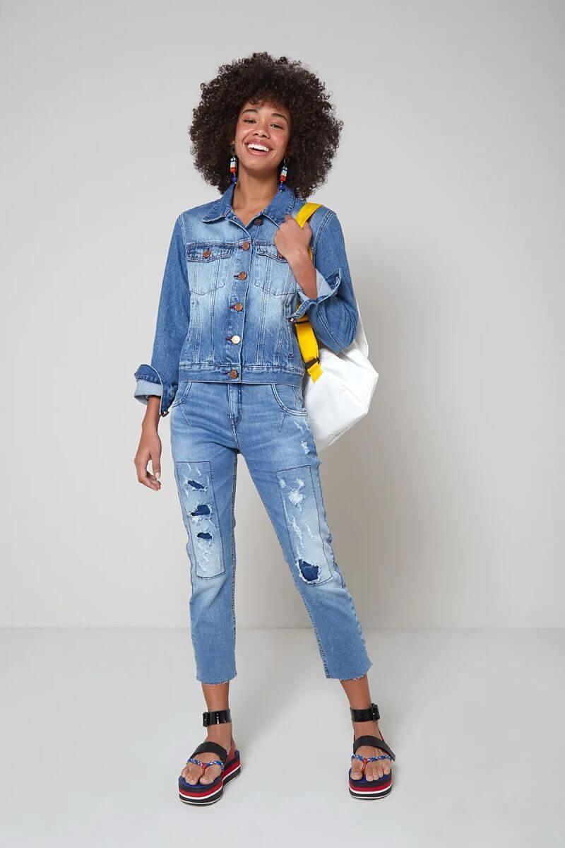 look jeans calça destroyed