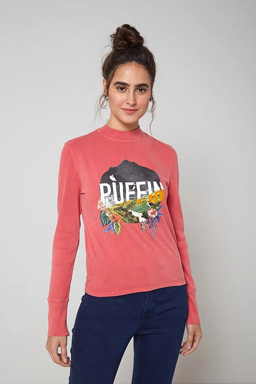 blusa manga longa gola alta rosa