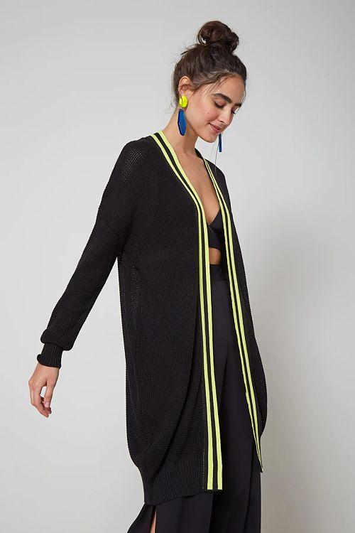 casaco tricot preto listras neon