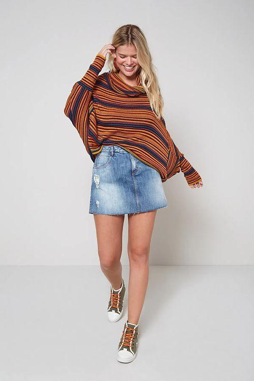 saia jeans blusa manga longa listrada